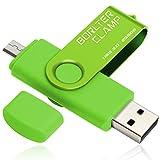 256GB Memoria USB, BorlterClamp Unidad Flash USB 3.0 de Puerto Doble (Puerto USB A y Micro USB), OTG Memory Stick para Smartphones, Tabletas y Computadoras (Verde)