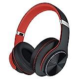 DOQAUS Auriculares Inalámbricos Diadema, [52 Hrs de Reproducción] Hi-Fi Sonido, Cascos Bluetooth con 3 Modos EQ, Micrófono Incorporado y Doble Controlador de 40 mm, para Móviles/Xiaomi/TV (Negro Rojo)