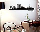 TOKPERSONAL Vinilo Decorativo para Pared, Adhesivo Skyline Madrid, decoración Comedor o salón (100_x_20, Blanco)