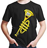Hariz - Camiseta para niño con diseño de trompeta con texto en inglés Negro 8 años