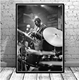 yitiantulong Miles Davis Blue Jazz Music Album Star Póster Impresiones Pared Lienzo Pintura Al Óleo Cuadros De Arte De Pared para Sala De Estar Decoración del Hogar M923 (50X70Cm) Sin Marco