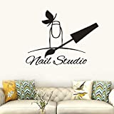 Manicura de uñas Etiqueta de la pared Nail Art Studio Logo Ventana Vinilo Mural Salón de uñas Nail con mariposa Etiqueta de la pared Art Deco Etiqueta de la pared A8 76x57cm