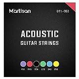 MARTISAN Juego de cuerdas para guitarra acústica fósforo/bronce 011' - 052' con 3 púas para guitarra