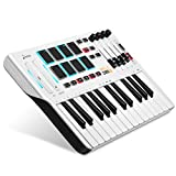 Controlador de Teclado MIDI DMK25, Donner Professional de 25 Teclas Mini USB Beat Pad con 8 Pads de Batería Retroiluminados 4 Perillas 4 Controles Deslizantes, Blanco