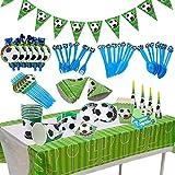 BETOY Fiesta de cumpleaños Fútbol 106PCS Vajilla Fiesta Fútbol Decoración Futbol Cumpleaños Conjunto de Suministros Mantel Platos Servilletas Pancartas Tazas Utensilios para Niños Cumpleaños Niñas