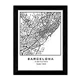 Lámina mapa de la ciudad Barcelona estilo nordico en blanco y negro. Poster tamaño A3 Sin marco Impreso papel 250 gr. Cuadros, láminas y posters para salon y dormitorio