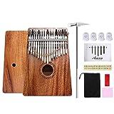 Asmuse Kalimba Caoba Thumb Piano 17 Teclas Marimbas Mbira Madera Maciza Finger Piano Sanza Thumb Instrumento con Cadena Extraíble con 12 Tipos de Accesorios