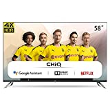 CHiQ Televisor Smart TV LED 58 Pulgadas, Android 9.0, Smart TV, UHD, 4K, WiFi, Bluetooth, Google Play Store, Google Assistant, Netflix, Prime Video, HDMI, USB-U58H7A
