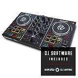 Numark Party Mix I | La versión II ya disponible a la venta | Controladora DJ plug-and-play de 2 canales para Serato DJ Lite con tarjeta de sonido incorporada, crossfader, jogwheels y luces de fiesta