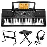 Moukey Kit de Teclado Piano Electrico 61 Teclas, Teclado de Piano Digital ElectróNico para Principiantes con Soporte de Teclado de Piano/Banco/Auriculares/Pegatinas de Música, Función de Aprendizaje